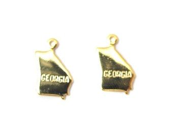 Engraved Tiny GOLD Plated on Raw Brass Georgia State Charms (2X) (A409-C)
