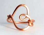 Handmade Copper Heart Ring Sizes 5-12 Gifts 10 and Under