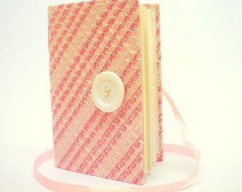 Handmade Journal / Notebook made with White and Pink Tweed Fabric opens with White Satin Ribbon and White Button