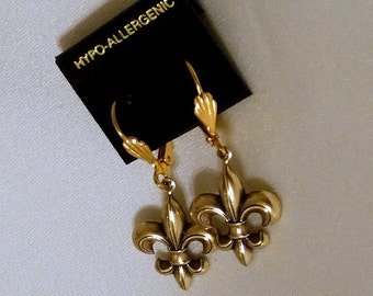 Gold Fleur de Lis Lever Back Earrings
