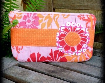 Zipper Pouch - Pink and Orange  (#175)