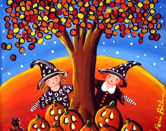 Fall Halloween 2 Little Witches Pumpkins Fun Whimsical Colorful Folk Art Painting