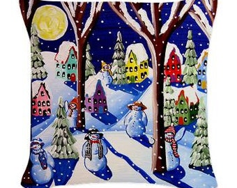 Magic Snowmen Winter Folk Art Pillow - Woven Throw Pillow Whimsical Art by Renie Britenbucher