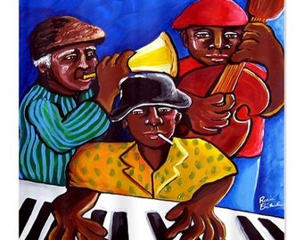 African American Jazz Trio Musician Folk Art Whimsical Colorful Bathroom Shower Curtain
