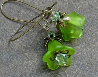 Spring Green Lucite Flower Earrings, Swarovski Chrysolite Crystals, Antique Brass Kidney Wires... Floral Jewelry