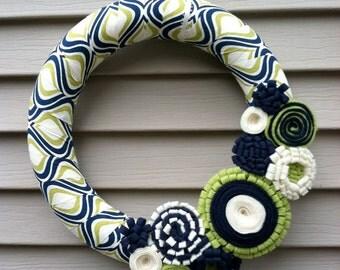 Fall Wreath - Modern Wreath Wrapped in Blue, Cream, & Green Patterned fabric w/ Felt Flowers.  Spring Wreath - Felt Flower Wreath