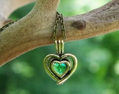 Recycled Vintage Green Beer Bottle Brass Heart Necklace