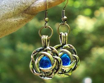 Recycled Vintage Cobalt Noxzema Jar Brass Blossom Earrings