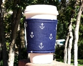FREE SHIPPING UPGRADE with minimum -  Fabric coffee cozy / cup sleeve / coffee sleeve -- In the Navy - Anchors