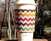 Fabric coffee cozy / cup sleeve / coffee sleeve  - Autumn Chevron