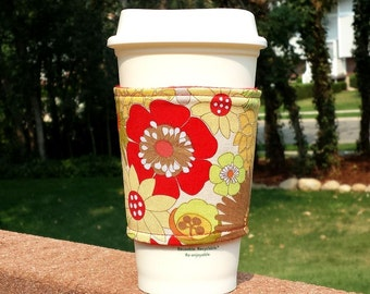 FREE SHIPPING UPGRADE with minimum -  Fabric coffee cozy / cup holder / coffee sleeve / coffee cup cozy / tea sleeve -- Fall Flowers