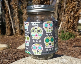 Mason jar cozy / mason jar sleeve / mason jar wrap - Happy Skulls