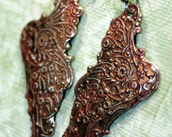 Blush Rose Tattered Wings Victorian Angel Fairy Sterling Silver Dangle Earrings Hand Painted