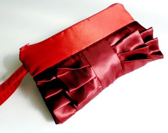 I Love Red Ruffled wristlet