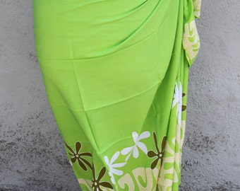 Lime green, light yellow, green and white tattoo tiare premium Tahitian pareo Full or half sized, tahitian costume skirt