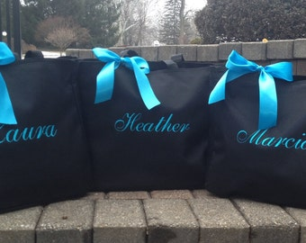Bride Tote Bag Bridesmaid Totes Monogrammed - set of 5 - bridal party gifts