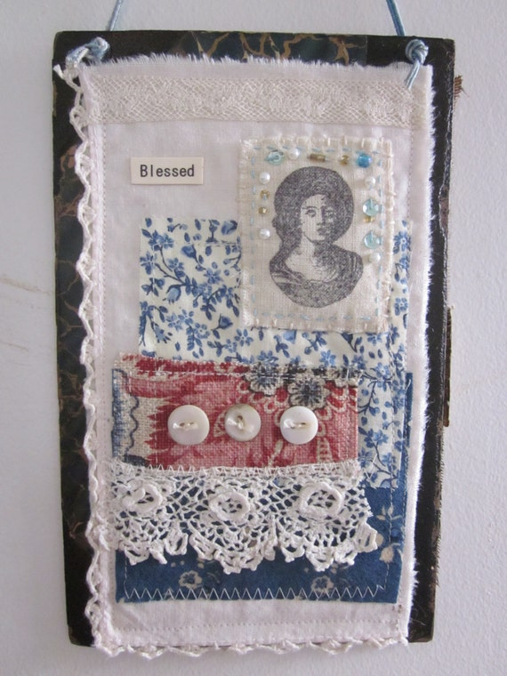 Fabric Book Covers Etsy ~ Items similar to fabric scrap collage art on book cover