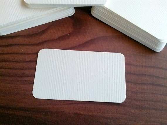 "Blank Business Cards, Soft White, ivory, kraft, Textured, Set of 50 - 3.5"" x 2"""