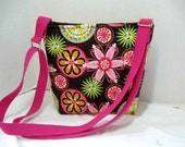 Cross Body Purse Floral -Funky Flolral Hip Bag - Bold Flowers Sling Bag - Long Adjustable Strap - Carnival Bloom
