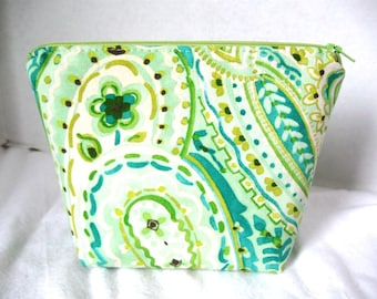 Make Up Bag Paisley Cosmetic Zippered Pouch
