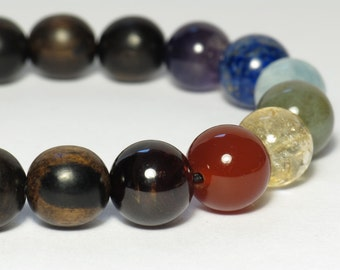 Seven Chakra Wrist Mala : Natural Gemstone Round Beads with Tiger Ebony Wood Beads Bracelet / 10mm / Stretchy / 7 Chakra / Yoga Bracelet
