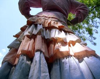 Ruffle Tier Skirt FUN OOAK Hippie Gypsy Boho Ruffle Skirt Pink Orange Gingham Maxi Upcycled Cotton Easter Pastel Dance Skirt Adult 8 10 12