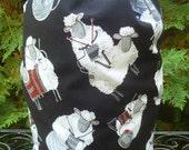 Sheep drawstring bag, WIP bag, knitting project bag, knitting sheep, Large Suebee