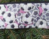 Soccer pencil case, zippered pencil case, pen and pencil case,  soccer balls on pink, The Scribe