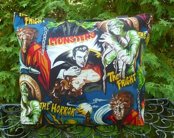 Movie Monsters purse, knitting bag, long or short handles, you pick, The Trixie