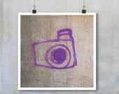 Graffiti Art Print: Purple Camera hand drawn urban wall art home decor art photo big print poster photograph 7x7 12x12 15x15 18x18 22x22