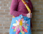 Upcycled Tote or Market Bag Pink and Yellow Tree