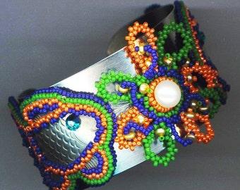 Beaded/ Beadwoven Neon Fish& Flower Bracelet .Ocean Neon. Orange Green. Genuine Pearl - Glow in the Dark Sea World by enchantedbeads on Etsy
