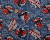 SALE Marvel Spiderman Badge Toss Blue Fabric - REMNANT Size 14 Inches by 44 Inches