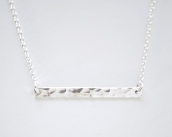 Hammered silver bar necklace - sterling silver bar - minimalist necklace -  sterling silver chain - delicate silver necklace - Silver bar h.