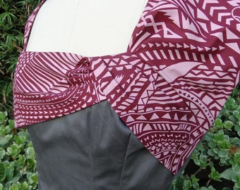 Retro Style Dress with Grey Cotton Satin with Burgundy Tribal Polynesian Print