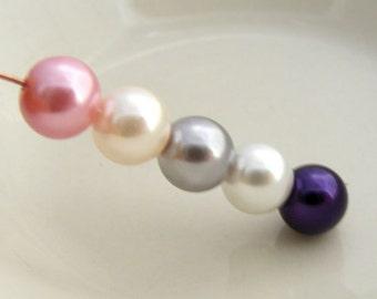 8mm Glass Pearl Beads Round Ikebana Designer Mix (Qty 20)