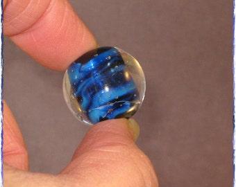 Handmade Glass Lampwork Bead in Black and Royal blue - Large Round Focal Art Bead - SRA - Blue Globe - 2844