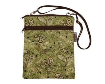 iPad Bag Netbook Bag iPad Case iPad Sleeve iPad Cover Ipad  / Tablet TRAVEL BAG / adjustable shoulder strap / Green Paisley Fabric