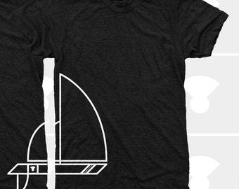 Men's Sailboat TShirt (Men) Sailing, Nautical, Boating TShirt American Apparel Men Shirt, Sizes S,M,L,XL,XXL (Black Heather) for Men