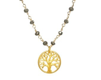 Small Gold-plated Tree of Life Necklace in Either Pyrite or Black Spinel
