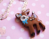 Kawaii Deer Fawn Necklace, Cute Woodland Decora Japanese Whimsical Jewelry