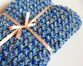 Extra Thick Blue Crochet Baby Blanket. Child's Bulky Blue Afghan. Floor Blanket. Baby Boy Blankie. Pet Blanket. Car Seat Cover