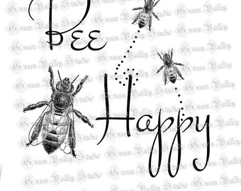 INSTANT DOWNLOAD Vintage Bee Digital Images Collage Sheet Bee Happy Full Page 8.5 x 11 Image for Transfers Pillows Burlap Crafts (P4)