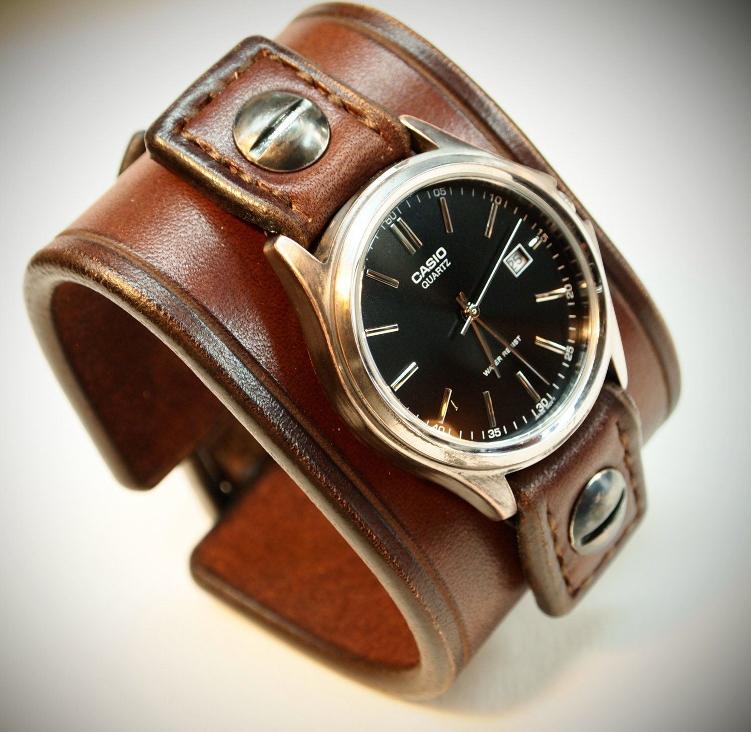Leather Cuff Watch Casio Vintage Brown Bridle Leather