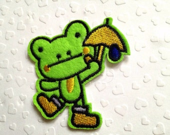 Green Froggy Iron On Patch / Applique 64x60mm (2.5x2.4 inches) - Code PC117