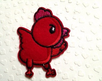Red Chicken Iron On Patch / Applique 75x60mm (3x2.4 inches) - Code PC118