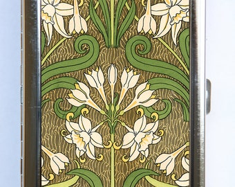 Art Nouveau Floral Cigarette Case id case Wallet Business Card Holder