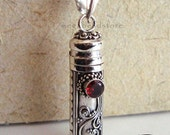 Bali Canister Pendant Red Garnet Gemstone 925 Sterling Silver Pendant Prayer Box Necklace P25
