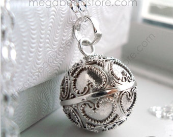 "20mm Mother Necklace Mexican Bola Chime Harmony Ball with 36"" Chain 925 Sterling Silver P80CH67"