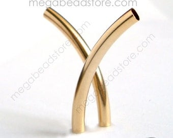 4 pcs 30mm x 3mm Long Curved Elbow Tube Bead Gold Filled F425GF